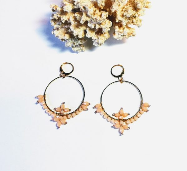 boucles oreilles cristal nude or